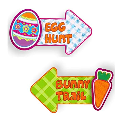 Easter Party - Two Easter Cut-outs Hot Stamping Sign Designs - Egg Hunt Easter Egg & Bunny Trail Easter Bunny -