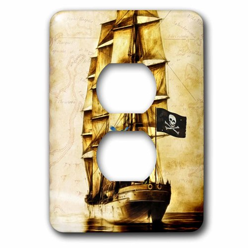 3dRose lsp_217314_6 Vintage Pirate Ship With Parrot And Old World Map 2 Plug Outlet Cover
