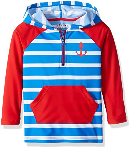 Hatley Little Boys' Hooded Rash Guard, Vintage Nautical, - Spf 400