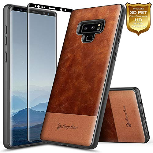 Galaxy Note 9 Case with Screen Protector (3D PET Full Coverage), NageBee Premium [Cowhide Leather] Heavy Duty Armor Shockproof Dual Layer Hybrid Rugged Durable Case for Samsung Galaxy Note 9 -Brown