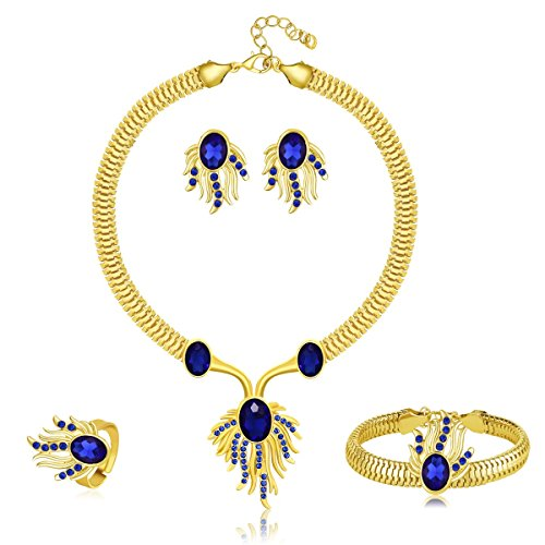 MOOCHI 18K Gold Plated Oval Rhinestone Phoenix Pendant Necklace Jewelry Set Blue ()