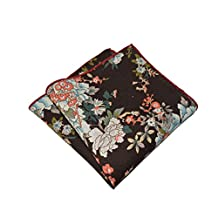 Sitong Men's retro cotton linen printed pocket square handkerchiefs