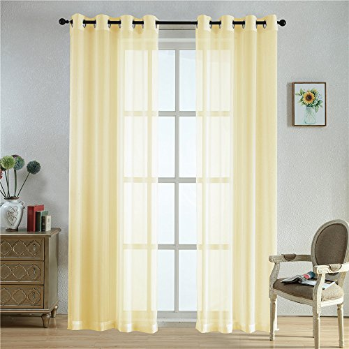 Cheap BEGOODTEX Sheer Curtain Transparent Voile Window Treatment Draperies Grommet Panel- 52Wx95L Inch- Champagne- 2 panels