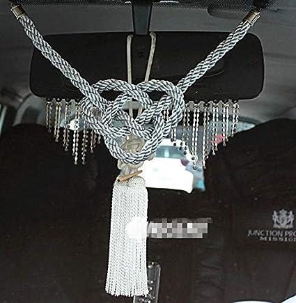 A Set New VIP Car Charm JDM Fusa Black Kiku JP Knot /& Gold Kin Tsuna Rope