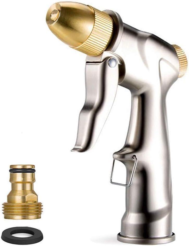 HOMY Garden Hose Nozzle Sprayer Gun, Zinc Alloy Gun Body & Full Brass Nozzle, Leak Proof Metal Hand Sprayer, High Pressure Pistol Grip Sprayer in 4 Spraying Modes
