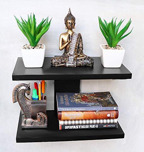 Simran Handicrafts MDF Wall Mounted Book Shelves Rack  Black