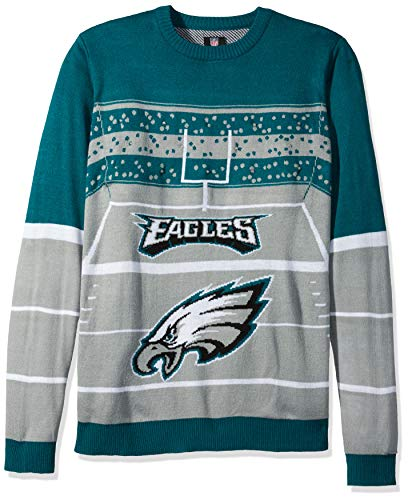 FOCO NFL Philadelphia Eagles Mens Stadium Light Up Crew Neck Sweaterstadium Light Up Crew Neck Sweater, Team Color, Large ()