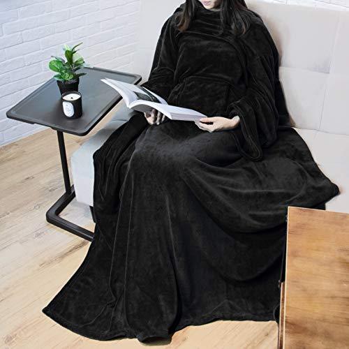 PAVILIA Premium Fleece Blanket with Sleeves for Adult, Women, Men | Warm, Cozy, Extra Soft, Microplush, Functional, Lightweight Wearable Throw (Black, Regular Pocket)
