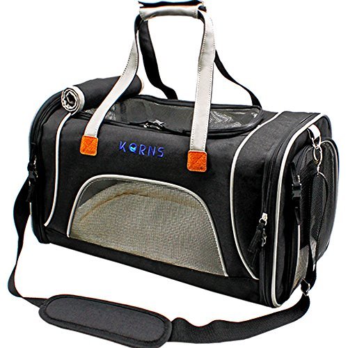 Pet Carrier Airline Approved, KQRNS Luxury Soft Sided Animal Travel Tote Bag with Fleece Puppy Bedding & Safety Lock, Fits Under Seat, Perfect for Cats and Small or Medium Dog