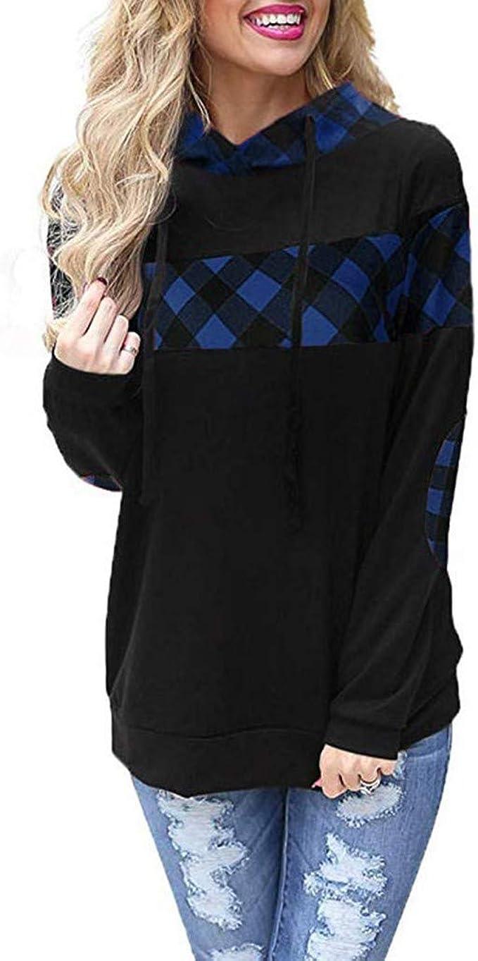 ALISIAM Moda Mujer Camisa a Cuadros con Capucha Bloque Color ...