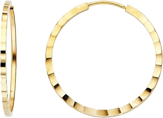 TGDJ 14K White Gold 1.5mm Square Tube Hoop Earrings Diameter - 20 MM