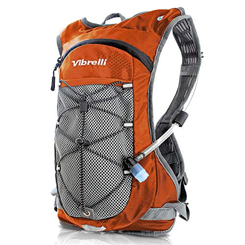 - Vibrelli Hydration Backpack & 2L Hydration Bladder - High Flow Bite Valve Hydration Pack - Orange