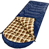 YAAO All Season Sleeping Bag Envelope Shaped with Hood for Camping Hiking Navy