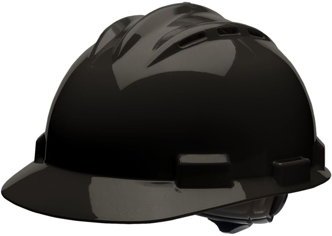 White Bullard 62WHR Standard Series Vented Cap Style Hard Hat Cotton Brow Pad 4 Point Ratchet Suspension One Size