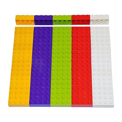 LEGO Parts and Pieces: Assorted 2x4 Bricks (Light Orange, Lime, Purple, Red, White) - 50 Pieces (Assorted Lego Bricks)