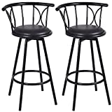 New Set of 2 Black Barstools Modern Swivel Rotatable Chairs Steel Counter Height For Sale