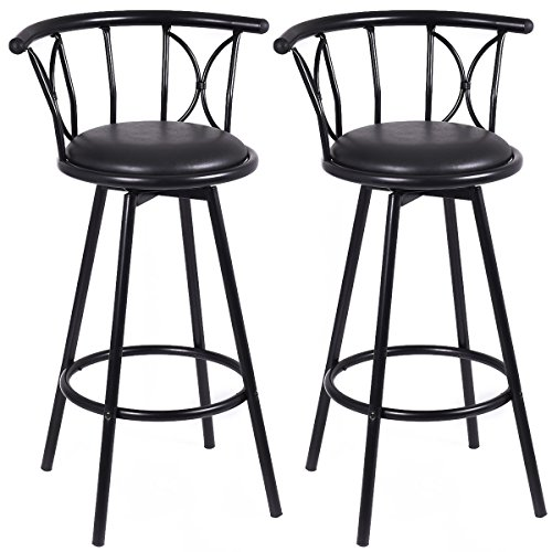 New Set of 2 Black Barstools Modern Swivel Rotatable Chairs Steel Counter Height