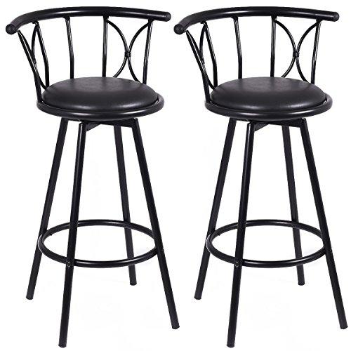 PROSPERLY U.S.Product Set of 2 Black Barstools Modern Swivel Rotatable Chairs Steel Counter Height Alexa Swivel Chair
