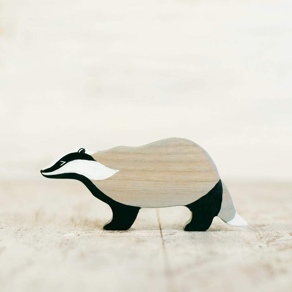 Wooden badger toy Woodland toy animals