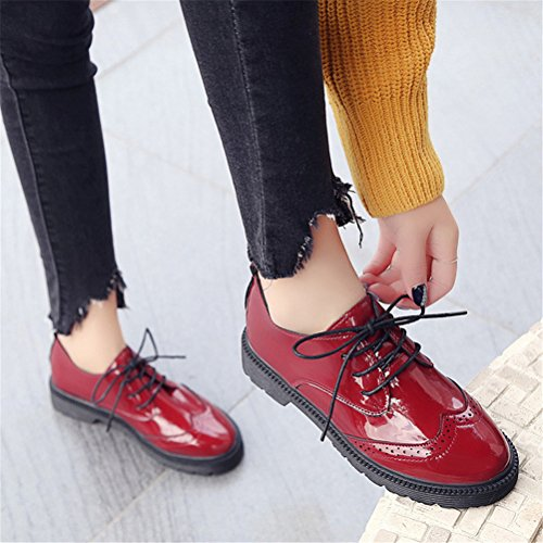 Use Vintage Uniform Dress Shoe Shoes London Red School Women Work Casual Anti Mid Skid Heel Oxford vO1Y1S