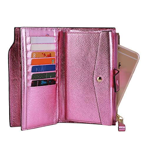Holder Blocking Rose Card Large Rfid Gold Ladies Itslife Organizer Genuine Purse Wax Luxury pebbled Wallet Women's Capacity Leather Clutch 3 R7wnnCxfq