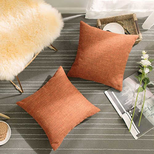 (HOME BRILLIANT Decorative Pillowcases Linen Chenille Blend Textured Decor Pillow Covers Cushion Covers Set of 2 for Sofa, 18 x 18 inches, Pumpkin )
