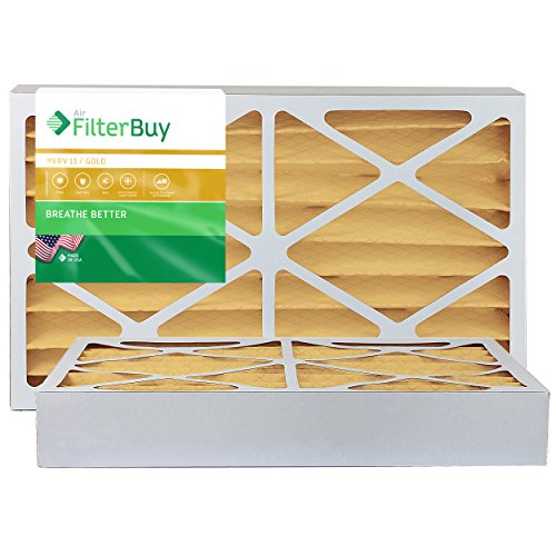 FilterBuy 10x16x4 MERV 11 Pleated AC Furnace Air Filter, (Pack of 2 Filters), 10x16x4 – Gold