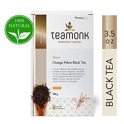 Teamonk Hozo Nilgiri Orange Black Tea Loose Leaf (50 Cups)   Energy Boosting Tea   Natural Orange Tea   Fruit Tea   Pure Loose Leaf Tea   No Additives - 3.5oz