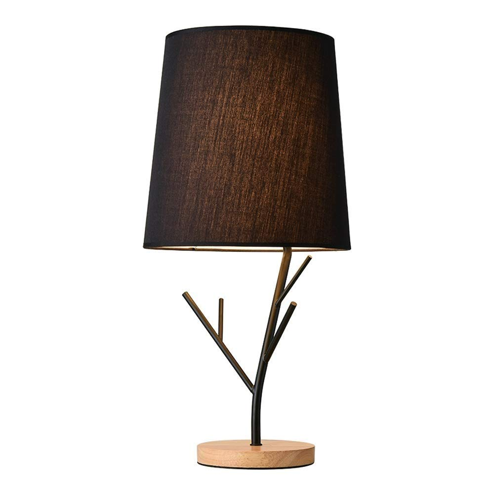 KLSJJ Modern Table Lamp, Creative Cup Holder Metal lamp Body with Fabric Lampshade for Home Office Cafe Restaurant (Color : Black)