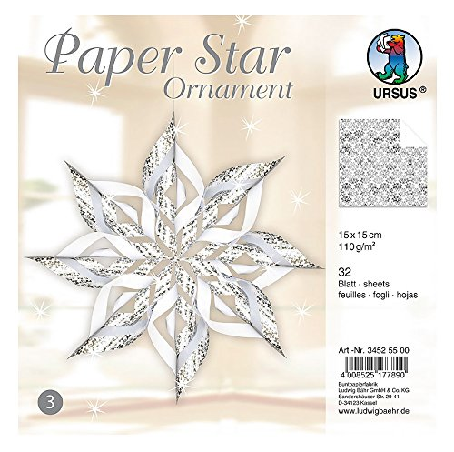 Ursus 34525500 Paper Star Ornament 3 for 4 Stars, Size: 40 x 40 cm Silver (Jewelry Star Moravian)
