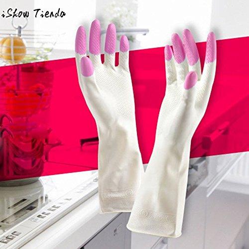 Labu Store Long Sleeve latex Kitchen Wash Dishes Dishwashing Gloves House Cleaning by Labu Store (Image #2)'