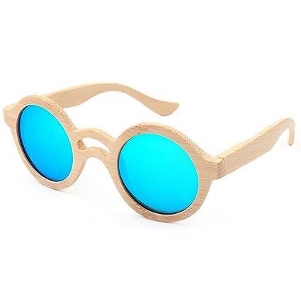 f2e0213c57 Uiophjkl Lentes Planos espejados Gafas de Sol de bambú de Las Mujeres  Redondas Retro Color Azul ...