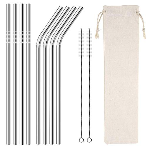Homemo Metal Stainless Steel Straws Drinking Straw 8 Reusable 10.5″+ 2 Cleaning Brushs,silicone tips for Yeti RTIC SIC Ozark Trail Tumblers(4 Straight|4 Bent|2 Cleaning Brush|silicone tip)