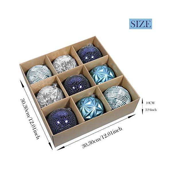 Valery Madelyn Palle di Natale 9 Pezzi 10cm Palle di Natale, Winter Wishes Argento e Blu Infrangibile Palla di Natale Ornamenti Decorazione per la Decorazione Dell'Albero di Natale 2 spesavip