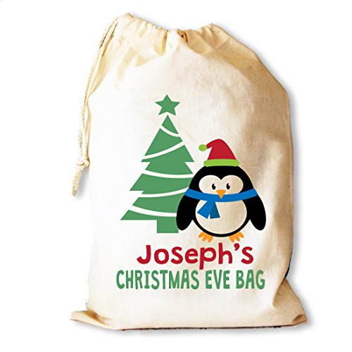 Christmas Eve in cotone, con sacchetto regalo extra large 40 x 50 cm Baby Penguin design