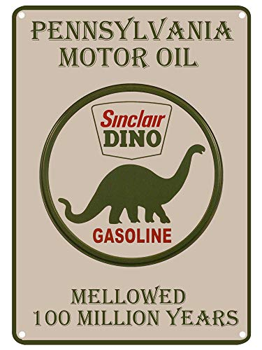 LASMINE Tin Signs Pennsylvania Motor Oil Sinclair Sino Gasoline Mellowed 100Million Years Dinosaur Crossing Country Home Outdoor Yard 8X12Inch