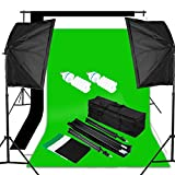 Excelvan Photography Video Studio Lighting Kit 1250W Soft Box W/3 Background Backdrop White Black Green 10×6.5FT Light Stand