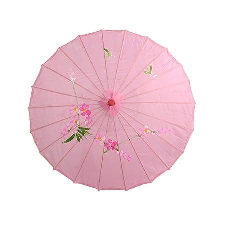 BESTOYARD Traditional Chinese Japanese Umbrella Parasol for Wedding, Bridesmaids, Cosplay, Summer Sun Shade (Pink)