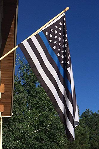 Newever Thin Blue Line Flag 3x5 ft - 210D Nylon, Embroidered Stars and Sewn Stripes with 2 Brass Grommets For Outdoor Events and Indoor Display ()