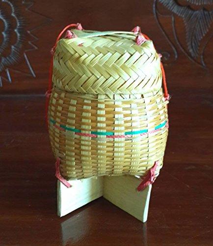 NAVA CHIANGMAI Handmade Thai Laos Sticky Rice Serving Bamboo Wicker Basket Storage Classic Natural Traditional. by NAVA CHIANGMAI