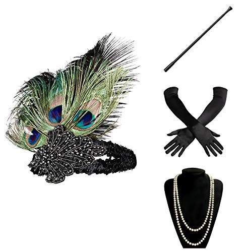 (BABEYOND 1920s Flapper Gatsby Costume Accessories Set 20s Flapper Headband Pearl Necklace Gloves Cigarette Holder)
