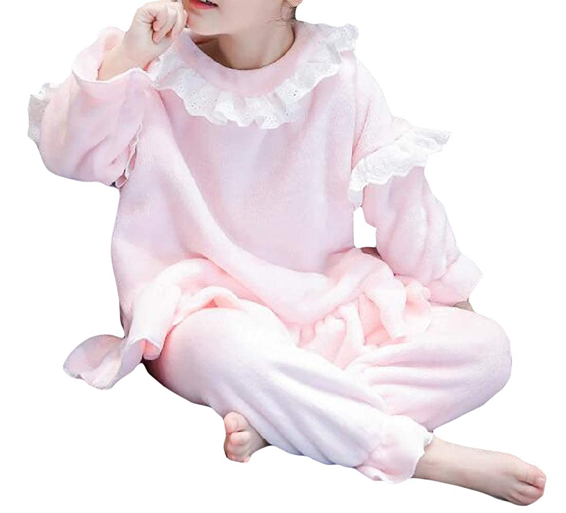 Bigbarry Girls Lounge Thick Flannel Cute Lace Trim Pajama Sets