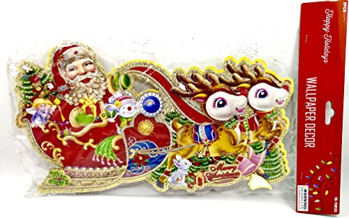3-D Christmas Santa Claus Wallpaper Decor,2-pieces, Sleigh,Reindeer,Toys,Glitter (Curly Beard Santa)