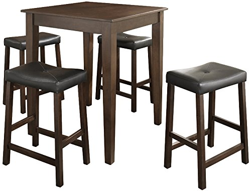 Crosley Furniture KD520008MA 5-Piece Pub Set with Tapered Leg Table and Upholstered Saddle Stools, Vintage Mahogany