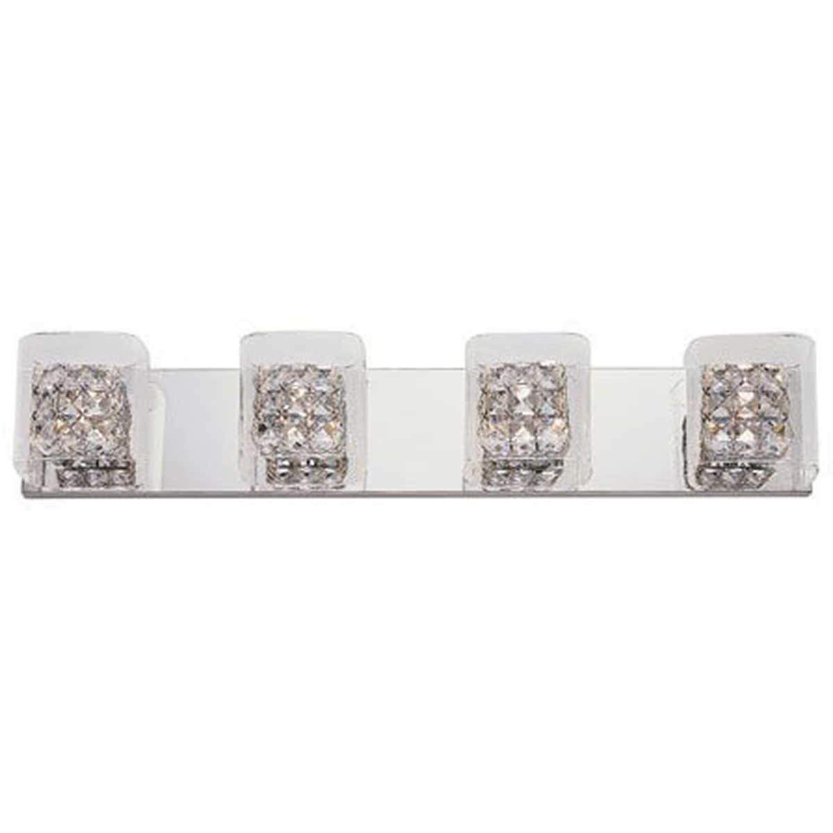 Artika 31 4-Light Crystal Cubes Vanity Wall Fixture in Chrome