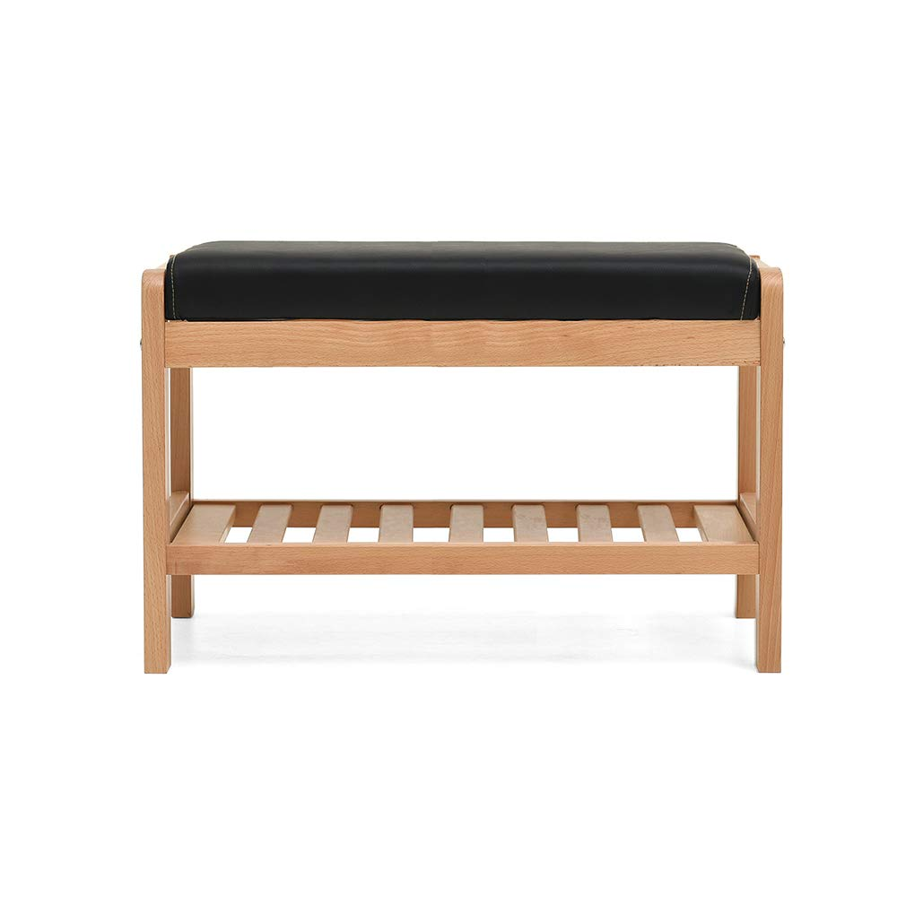 Wood color 6533.540cm ZZHF dengzi Change shoes Bench, Cushion Thickened Storage Shelf Entrance Passage Bedroom Living Room Corridor Garage (color   Walnut color, Size   50  33.5  40cm)