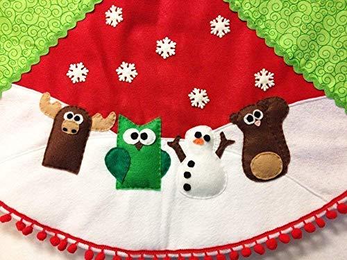 Christmas Tree Skirt with Woodland Animals - Felt Handmade Keepsake