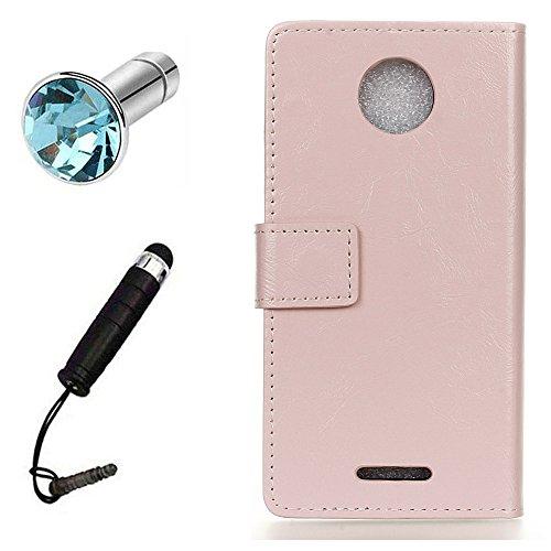 Lusee® PU Caso de cuero sintético Funda para Motorola Moto C Plus 5.0 Pulgada Cubierta con funda de silicona botón caballo Loco patrón Rosa caballo Loco patrón Rosa