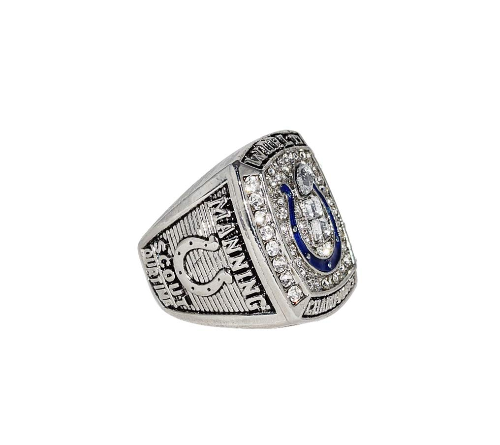 INDIANAPOLIS COLTS (Peyton Manning) 2006 SUPER BOWL XLI WORLD CHAMPIONS (Playing Vs. Bears) Rare Collectible High Quality Replica NFL Football Silver Championship Ring with Cherrywood Display Box