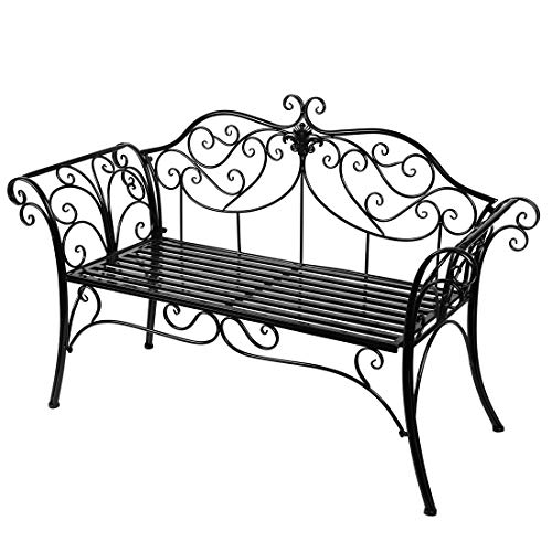 Antique Black Metal Garden Bench Chair 2 Seater for Garden, Yard, Patio, Porch and Sunroom